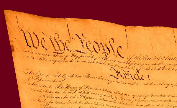 Us Constitution Closest Closeup Violet Red Background Print by L Brown