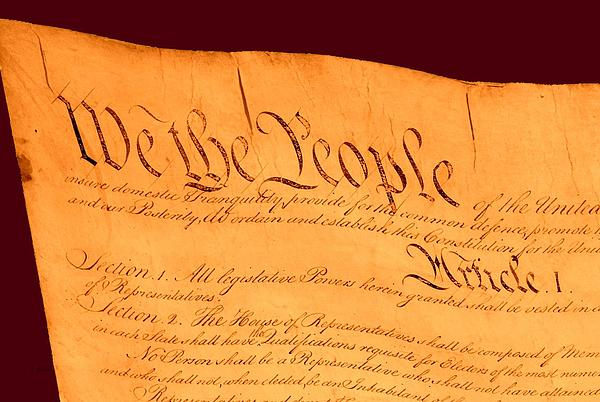 Us Constitution Closeup Red Brown Background Print by L Brown