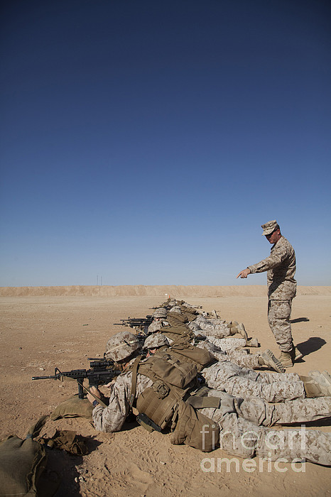 U.s. Marine Corps Officer Directs Print by Stocktrek Images