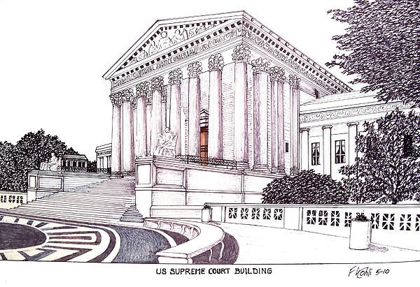 Us Supreme Court Building Print by Frederic Kohli