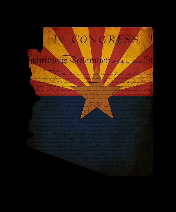 Usa American Arizona State Map Outline With Grunge Effect Flag A Print by Matthew Gibson