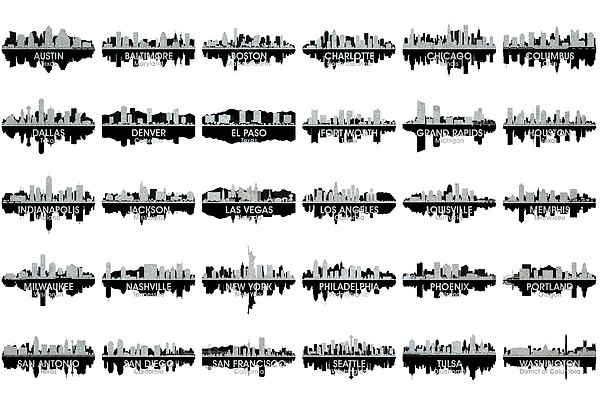 Usa Skylines 4 Print by Angelina Vick