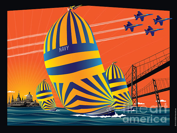 Usna Sunset Sail Print by Joe Barsin