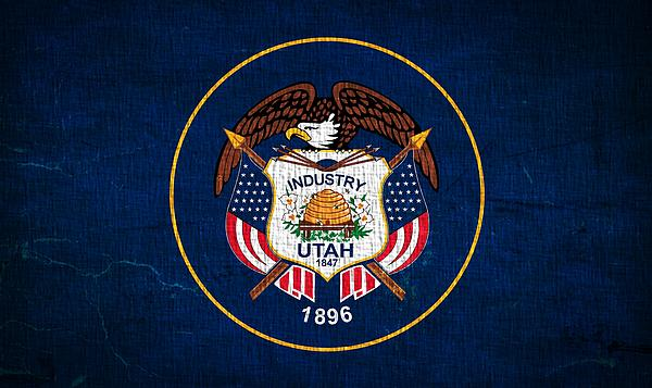 Utah State Flag On Canvas Print by Dan Sproul