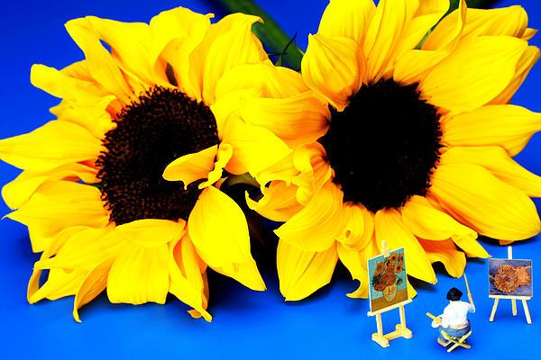 Van Gogh's Sunflower Miniature Art Print by Paul Ge