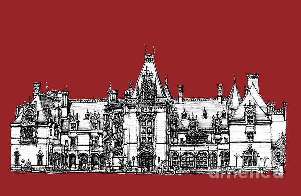 Vanderbilt's Biltmore Estate In Red Print by Lee-Ann Adendorff