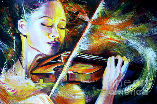 Vanessa-mae.power Of Music Print by Anna  Duyunova