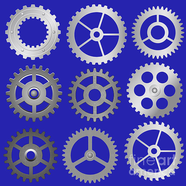 Various Vector Gears Print by Michal Boubin