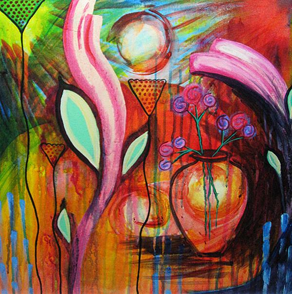 Vase In Blooms Print by Brenda Nachreiner