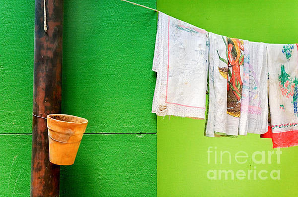 Vase Towels And Green Wall Print by Silvia Ganora