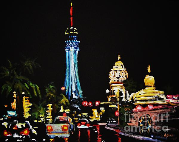 Vegas At Night Print by John Malone