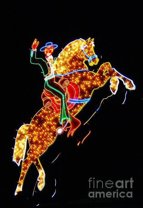 Vegas Cowboy Sign Print by John Malone