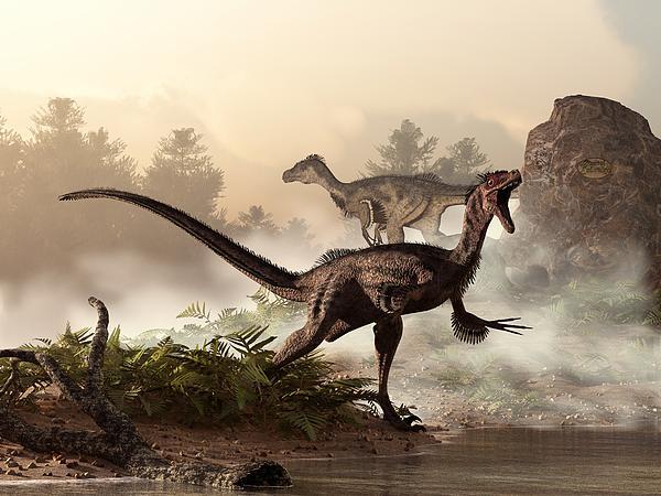 Velociraptors Prowling The Shoreline Print by Daniel Eskridge