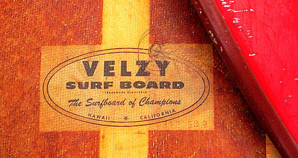 Velzy Surf Board Print by Ron Regalado