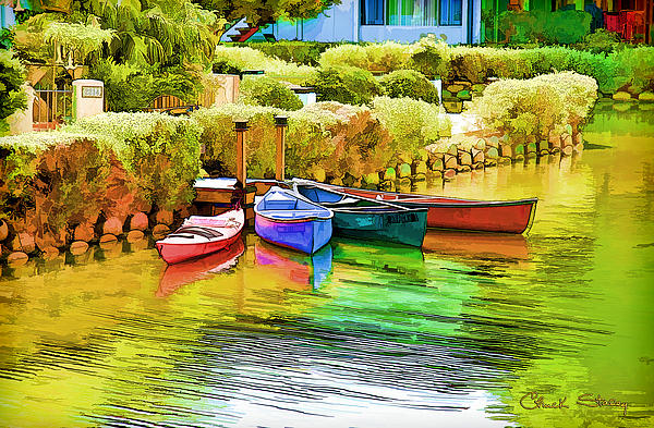Venice Canoes Print by Chuck Staley