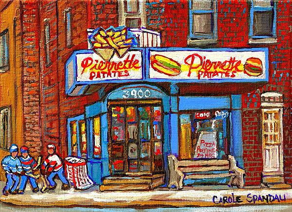Verdun Famous Restaurant Pierrette Patates - Street Hockey Game At 3900 Rue Verdun - Carole Spandau Print by Carole Spandau