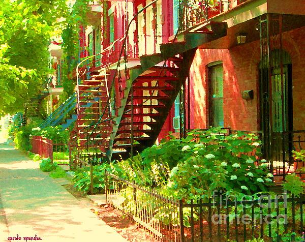 Verdun Stairs Winding Staircases And Fenced Flower Garden Montreal Summer Scene Carole Spandau Print by Carole Spandau