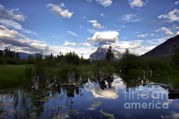 Teresa Zieba - Vermillion Lakes and Mount Rundle At Dusk