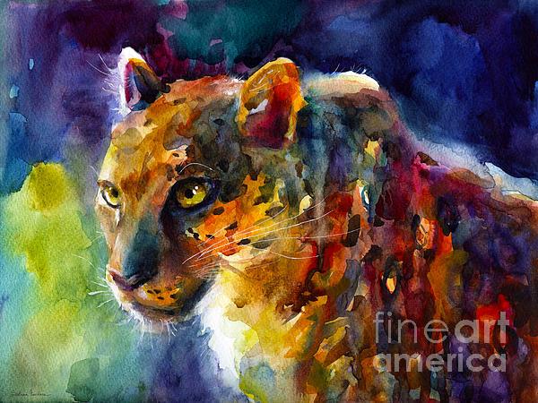 Vibrant Watercolor Leopard Wildlife Painting Print by Svetlana Novikova
