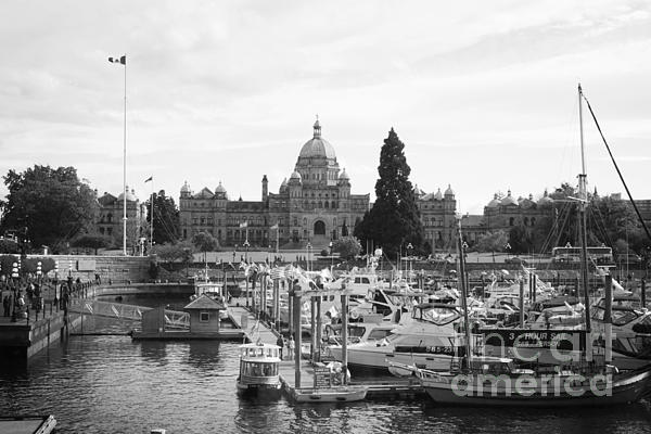 Victoria Harbour With Parliament Buildings - Black And White Print by Carol Groenen