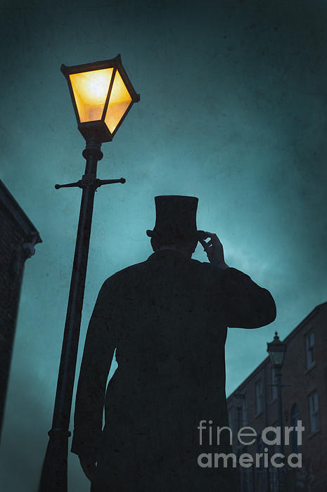 Victorian Man With Top Hat Under A Gas Lamp Print by Lee Avison