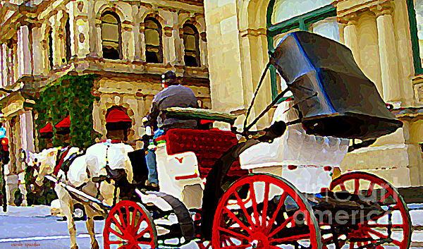 Vieux Port Caleche Scene White Horse Red Wheels Trots Along Cobbled Stones Streets Carole Spandau Print by Carole Spandau
