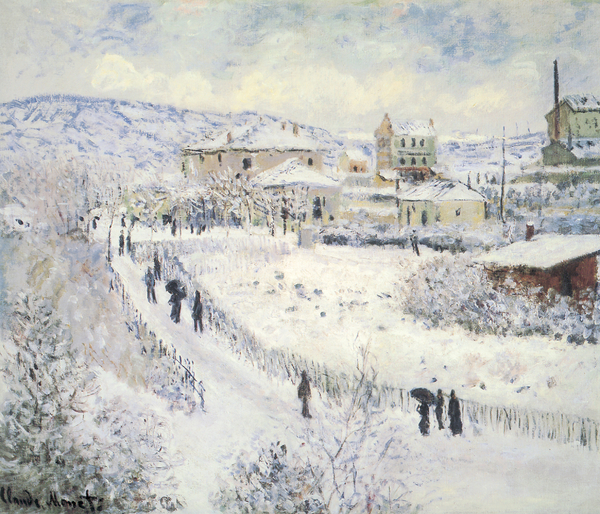 View Of Argenteuil Snow Print by Claude Monet