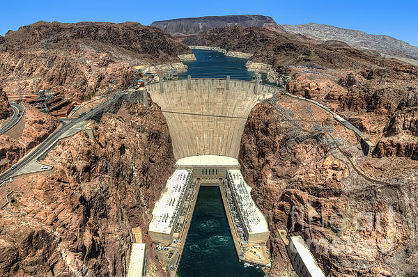 View Of Hoover Dam Print by Eddie Yerkish