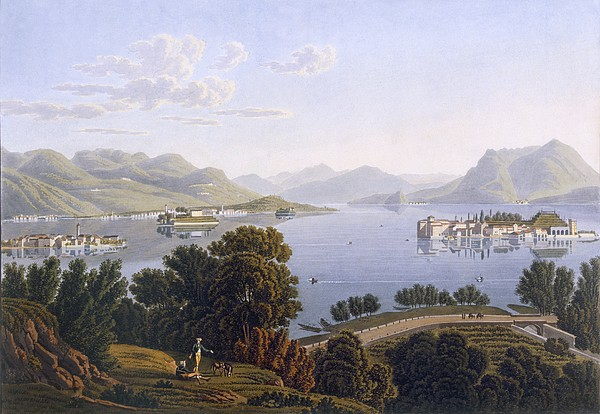 View Of Lake Maggiore And The Borromean Print by Swiss School