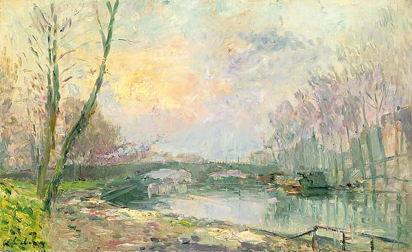 View Of The Seine Paris Print by Albert Charles Lebourg