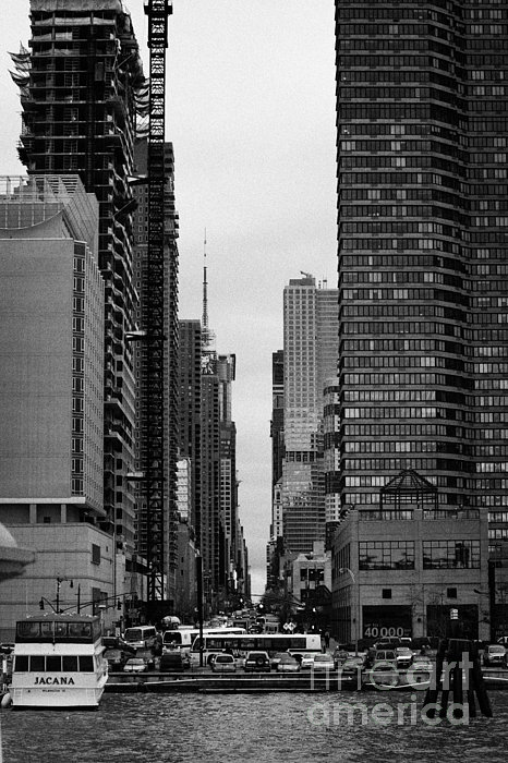 View Up West 42nd Street From The Hudson River New York City Print by Joe Fox