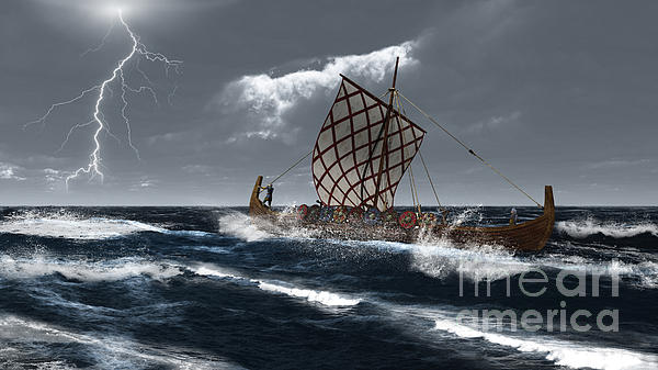 Viking Longship In A Storm Print by Fairy Fantasies