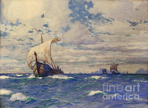 Viking Ships At Sea Print by Pg Reproductions