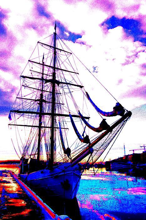 Vikings Go Sailing Print by Hilde Widerberg