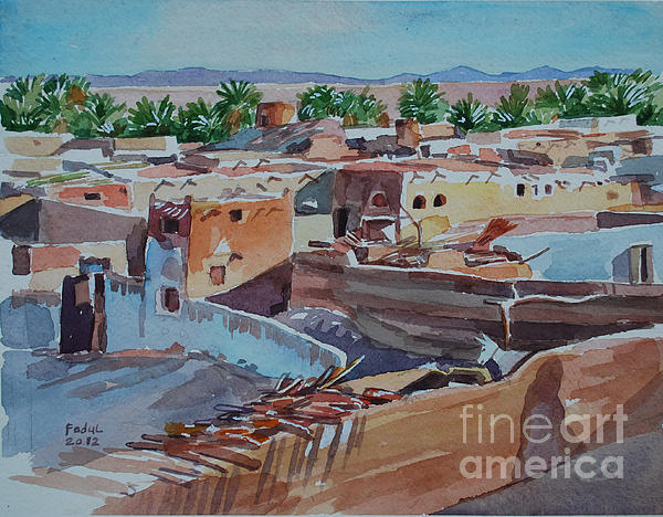 Village Print by Mohamed Fadul