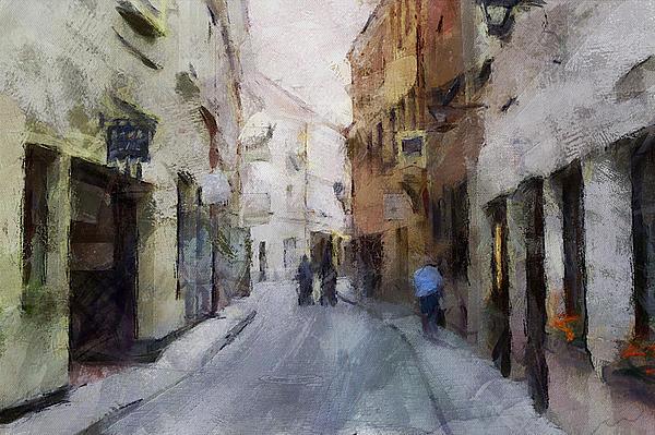Vilnius Old Street Walk 3 Print by Yury Malkov