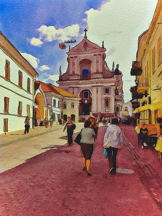 Vilnius Old Town 12 Print by Yury Malkov