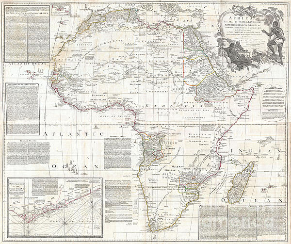 Vinatge Old World Map Of Africa Print by Inspired Nature Photography By Shelley Myke