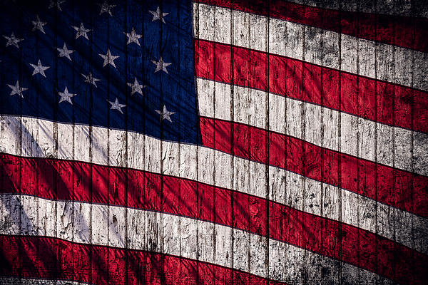Vintage American Flag Print by Leslie Banks
