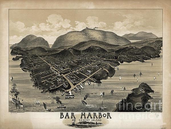 Vintage Bar Harbor Map Print by Vintage Map