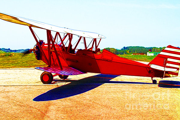 Vintage Biplane - 7d15525 - Color Sketch Style Print by Wingsdomain Art and Photography