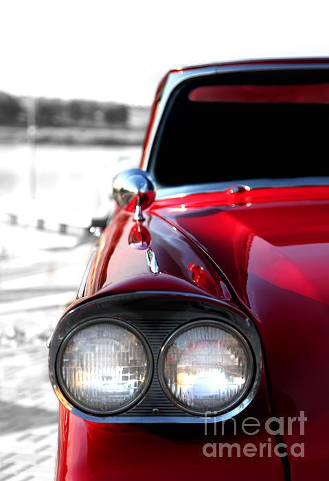 Vintage Chevy Red Print by Jennifer Mecca