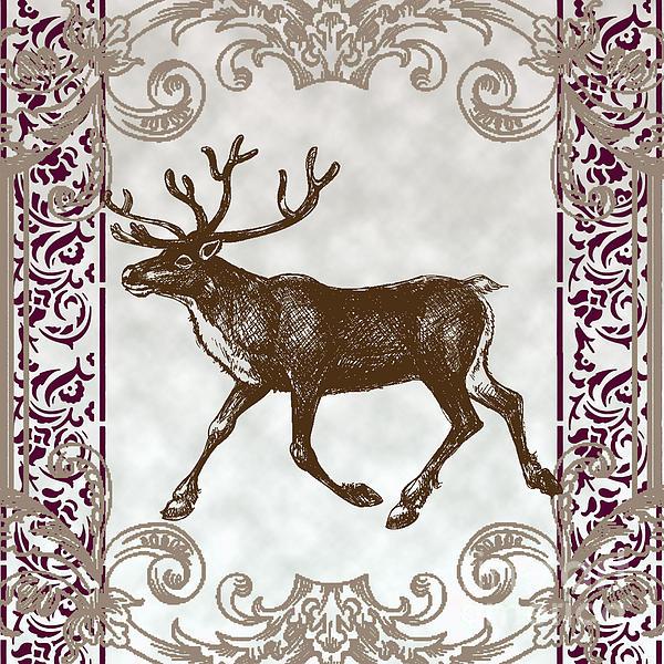 Vintage Deer Artowrk Print by Art World