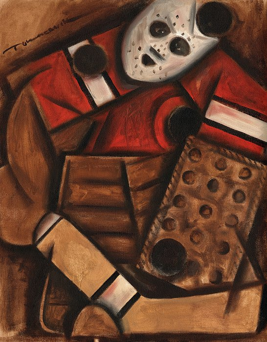 Vintage Hockey Goalie Painting