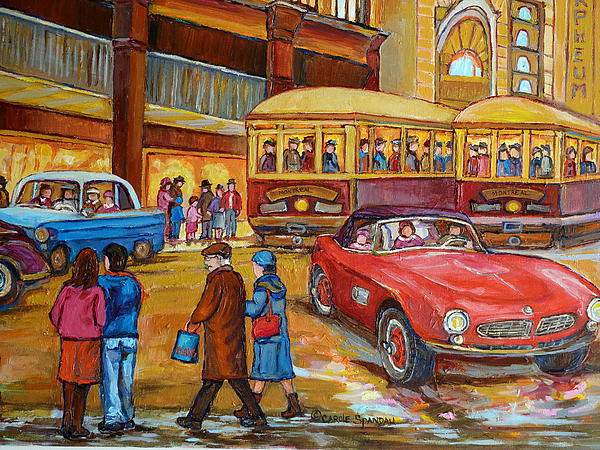 Vintage Montreal-st.catherine And Union-couples And Streetcars Print by Carole Spandau