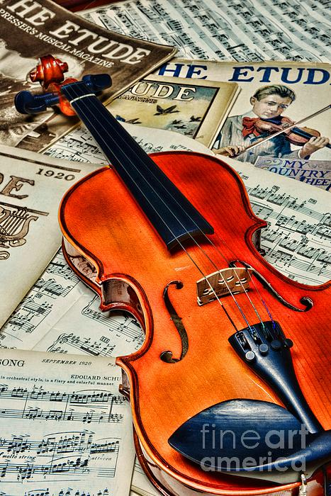 Vintage Music And Violin Print by Paul Ward