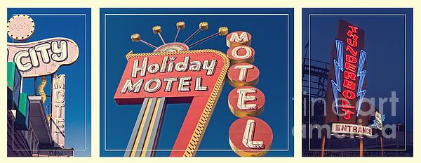 Vintage Neon Signs Trio Print by Edward Fielding