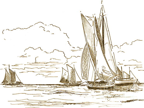 Vintage Oyster Schooners  Print by Nancy Patterson