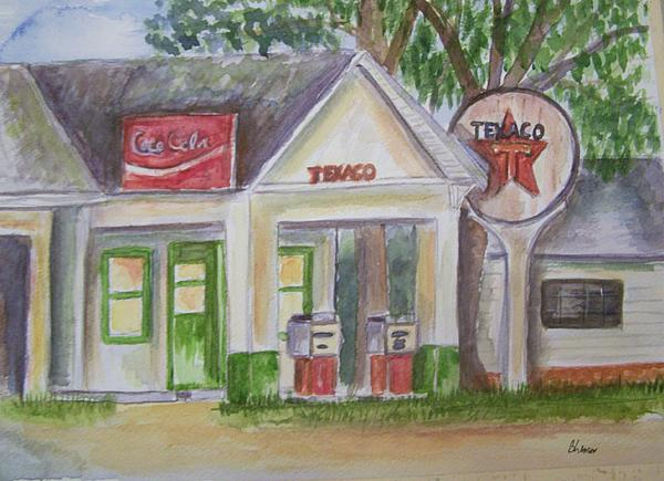 Vintage Texaco Gas Station Print by Belinda Lawson