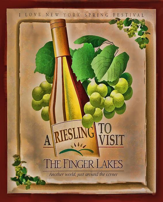 Vintage Wine Poster Print by Linda Phelps